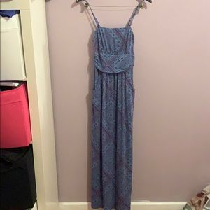 Purple and light blue maxi dress